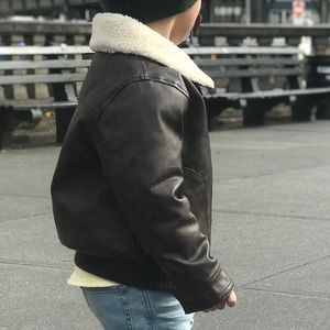 Toddler brown leather jacket